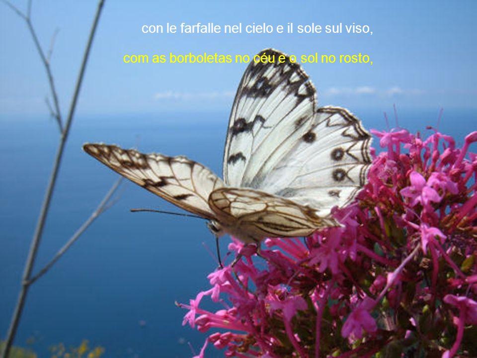 con le farfalle nel cielo e il sole sul viso,