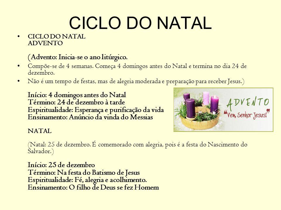 CICLO DO NATAL CICLO DO NATAL ADVENTO (Advento: Inicia-se o ano litúrgico.