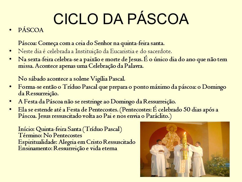 CICLO DA PÁSCOA PÁSCOA Páscoa: Começa com a ceia do Senhor na quinta-feira santa. Neste dia é celebrada a Instituição da Eucaristia e do sacerdote.