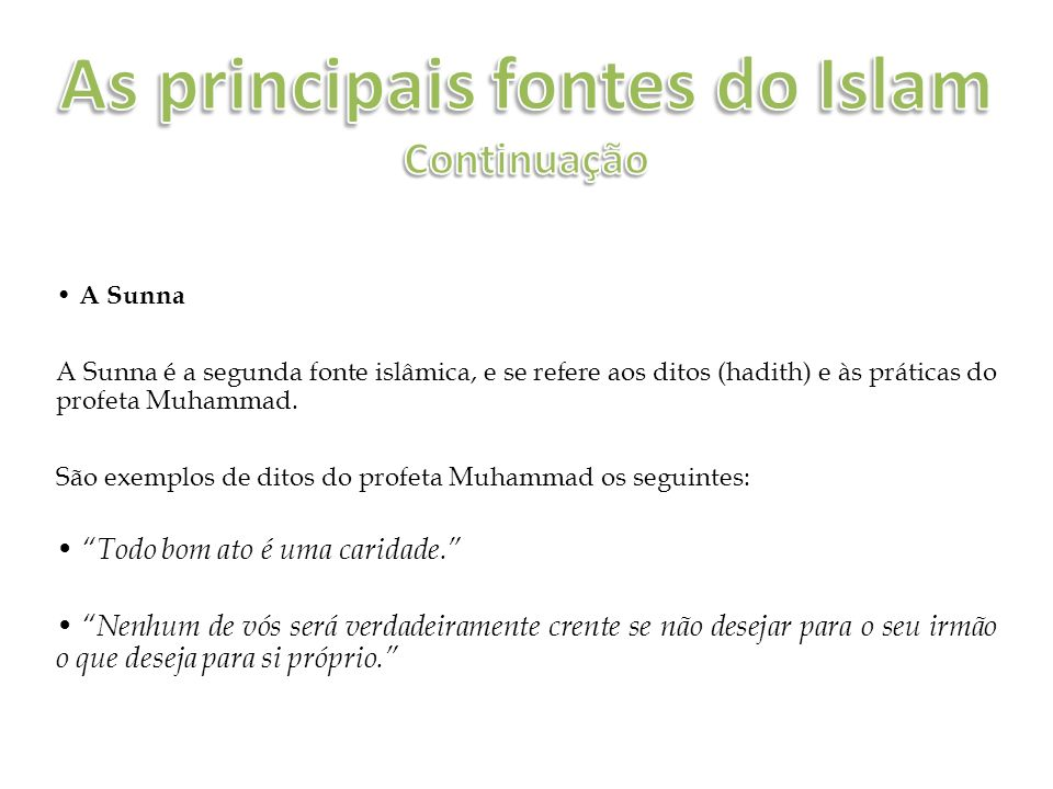 As principais fontes do Islam