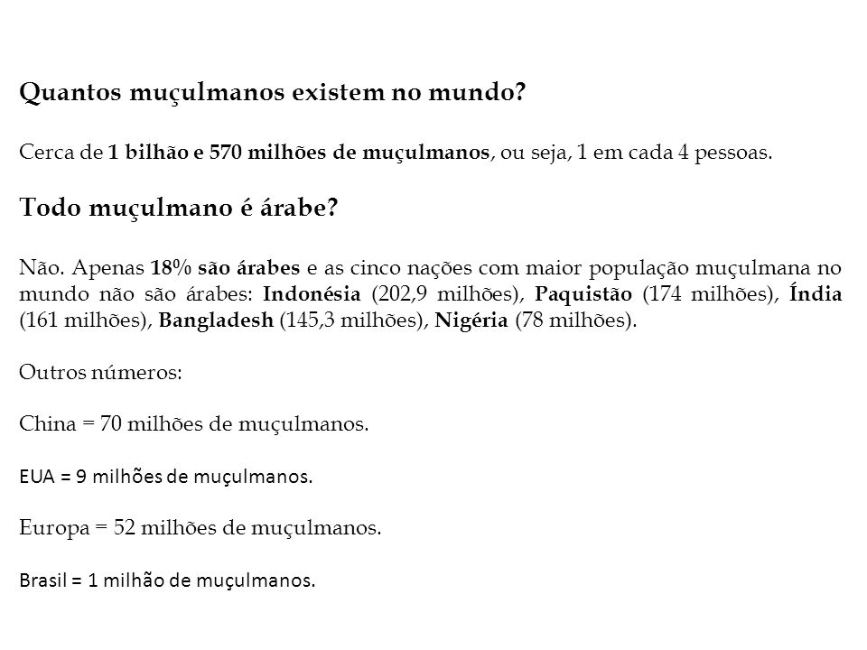 Quantos muçulmanos existem no mundo