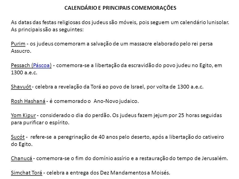 CALENDÁRIO E PRINCIPAIS COMEMORAÇÕES