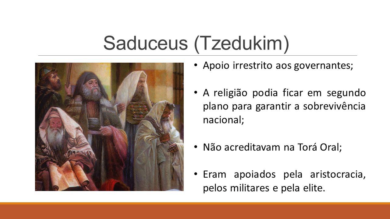 Saduceus (Tzedukim) Apoio irrestrito aos governantes;