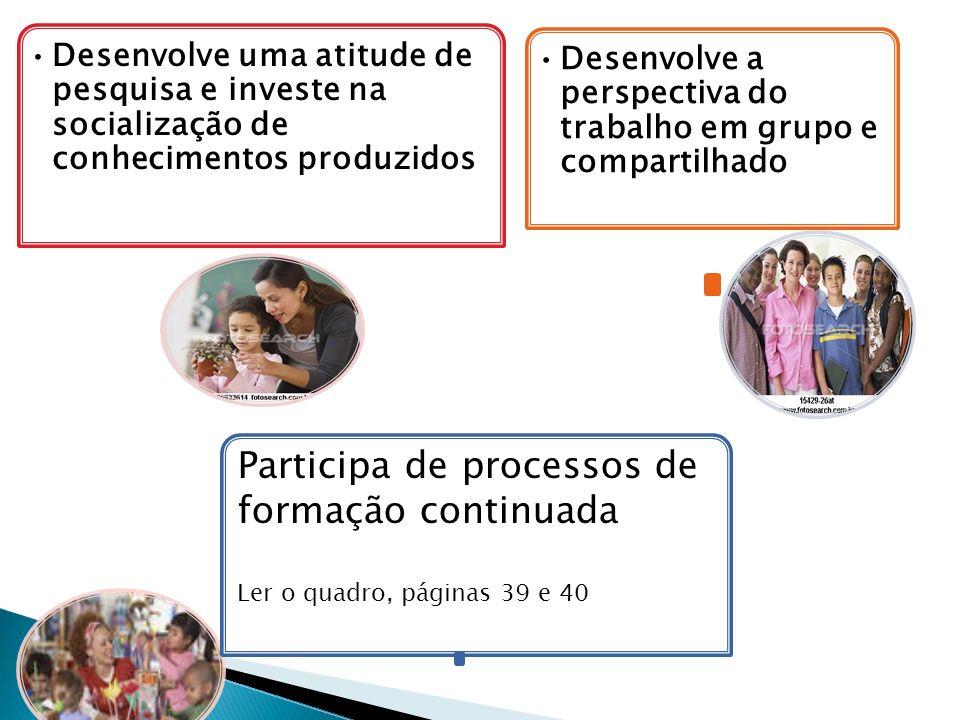 Participa de processos de formação continuada