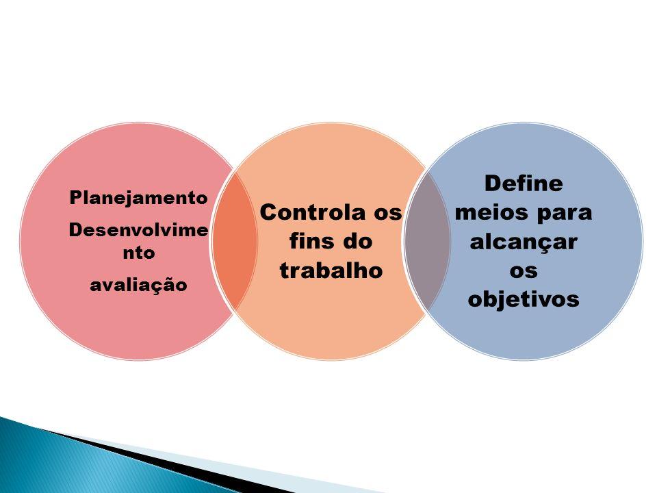 Planejamento Desenvolvimento avaliação Controla os fins do trabalho