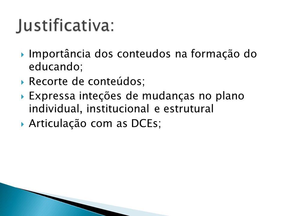 Justificativa: Importância dos conteudos na formação do educando;
