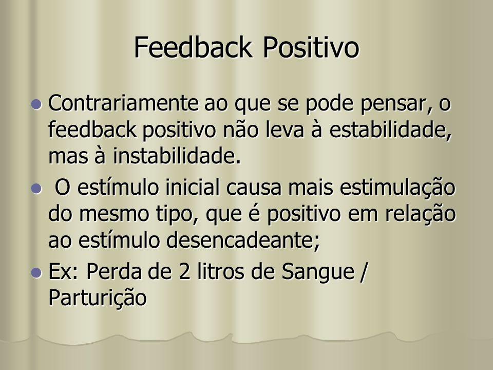 Feedback Positivo Contrariamente ao que se pode pensar, o feedback positivo não leva à estabilidade, mas à instabilidade.