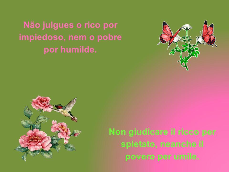 Não julgues o rico por impiedoso, nem o pobre por humilde.