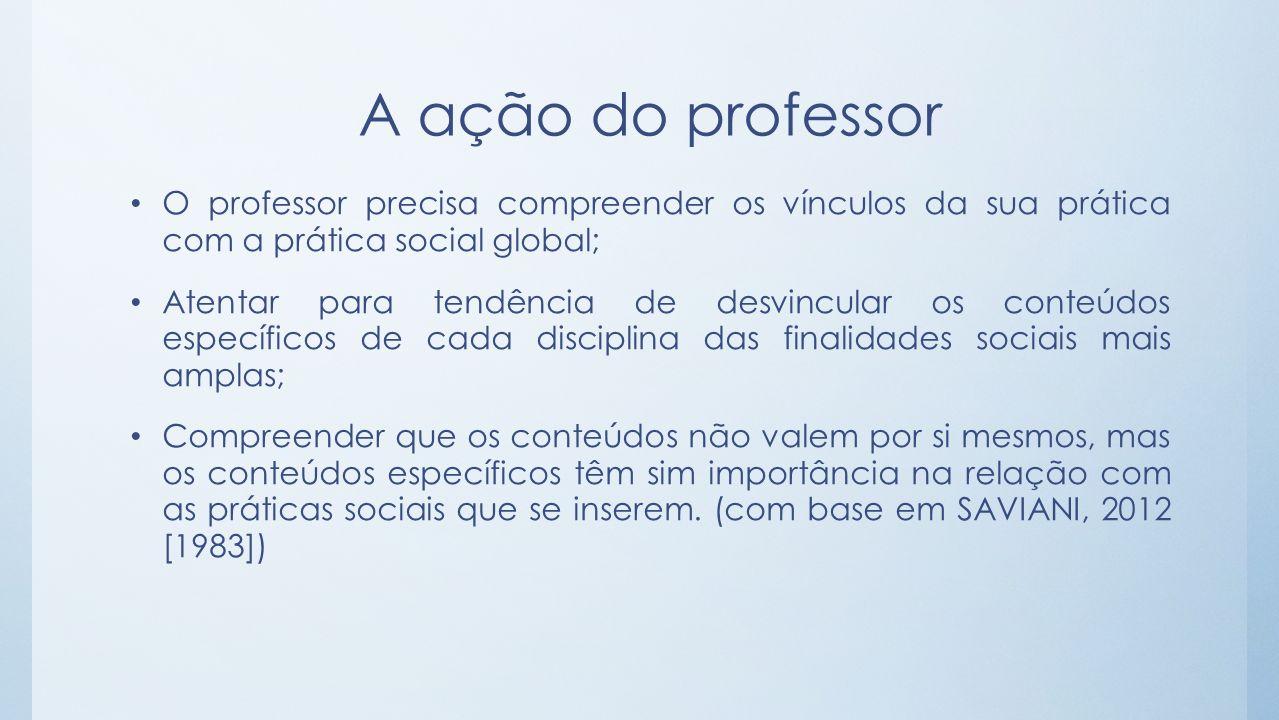 A ação do professor O professor precisa compreender os vínculos da sua prática com a prática social global;