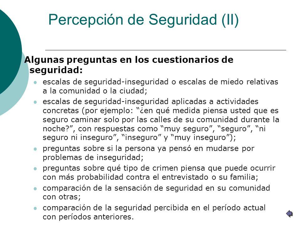 Percepción de Seguridad (II)
