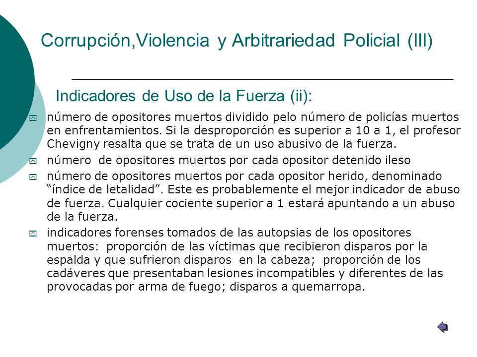 Corrupción,Violencia y Arbitrariedad Policial (III)