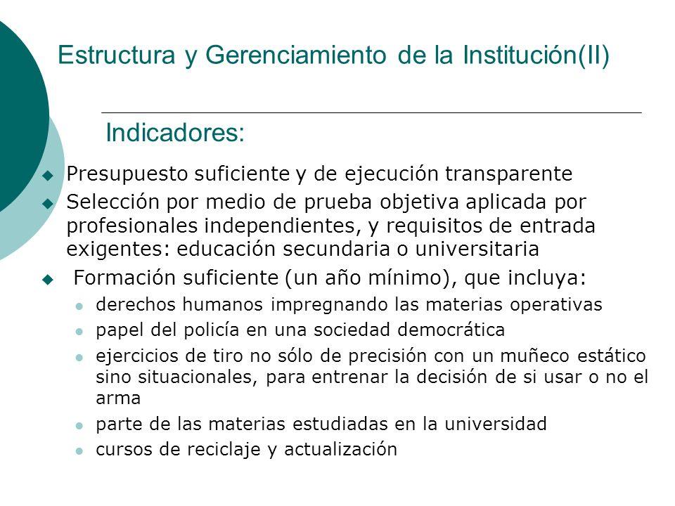 Estructura y Gerenciamiento de la Institución(II)