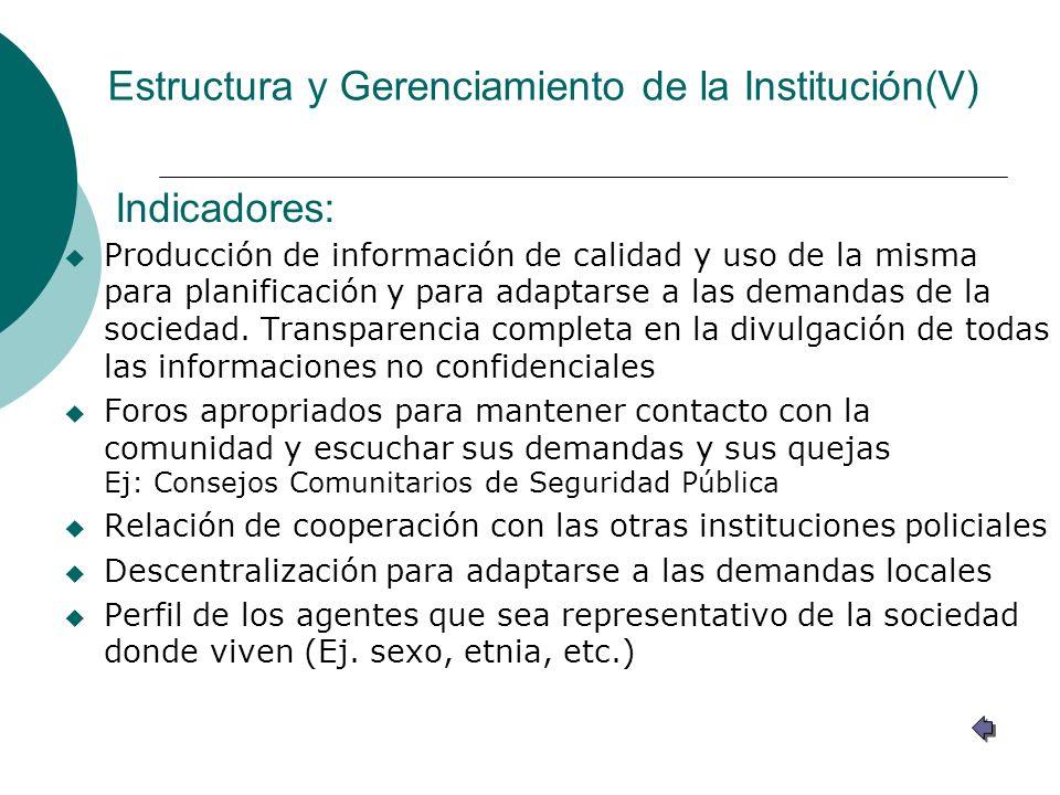 Estructura y Gerenciamiento de la Institución(V)