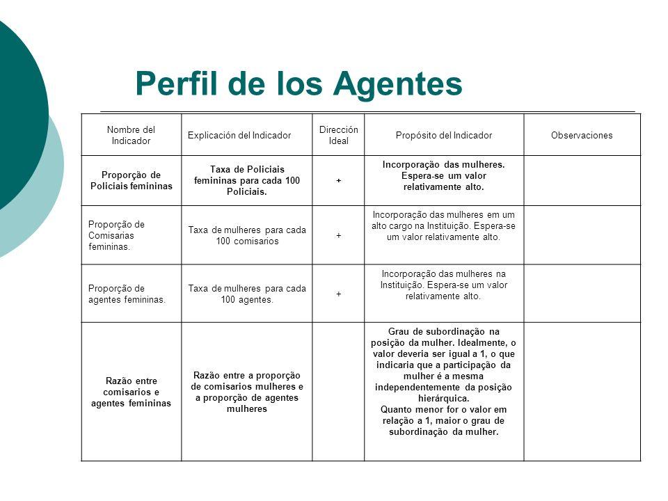 Perfil de los Agentes Nombre del Indicador Explicación del Indicador