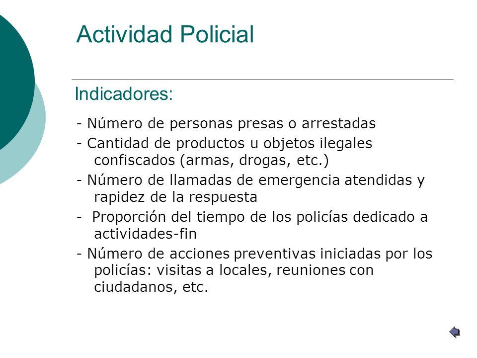 Actividad Policial Indicadores: