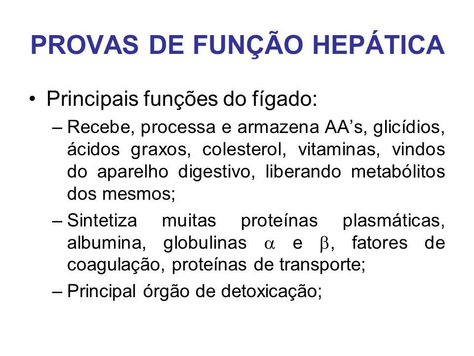 PROVAS DE FUNÇÃO HEPÁTICA