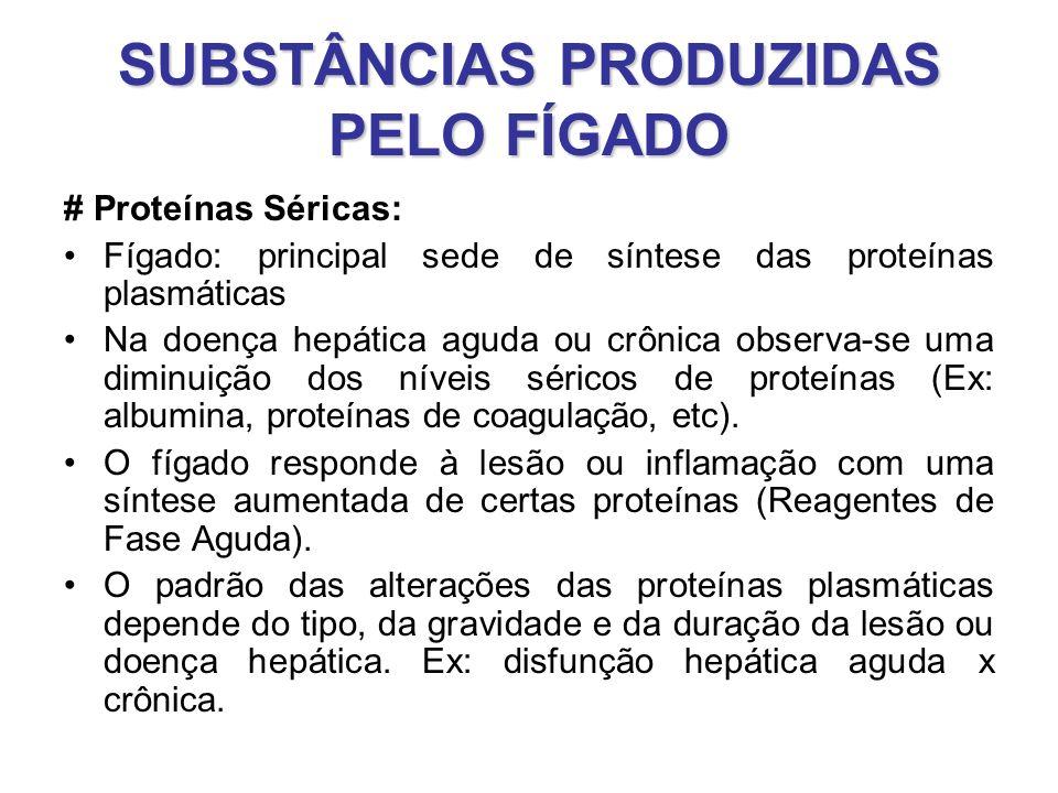 SUBSTÂNCIAS PRODUZIDAS PELO FÍGADO