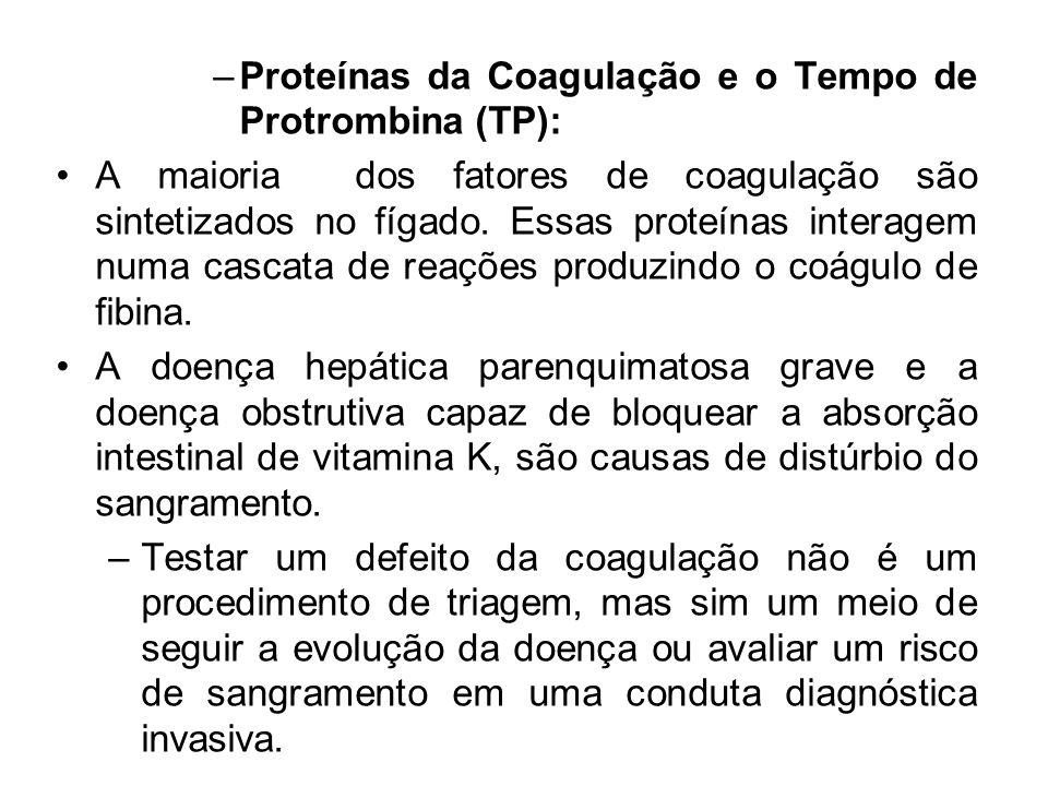 Proteínas da Coagulação e o Tempo de Protrombina (TP):