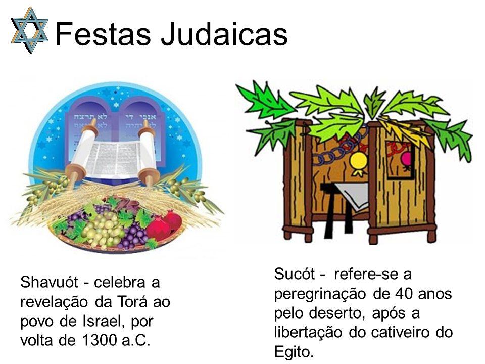 Festas Judaicas Sucót - refere-se a peregrinação de 40 anos pelo deserto, após a libertação do cativeiro do Egito.