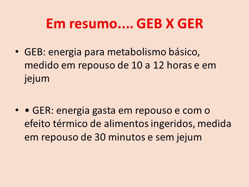 Em resumo.... GEB X GER GEB: energia para metabolismo básico, medido em repouso de 10 a 12 horas e em jejum.