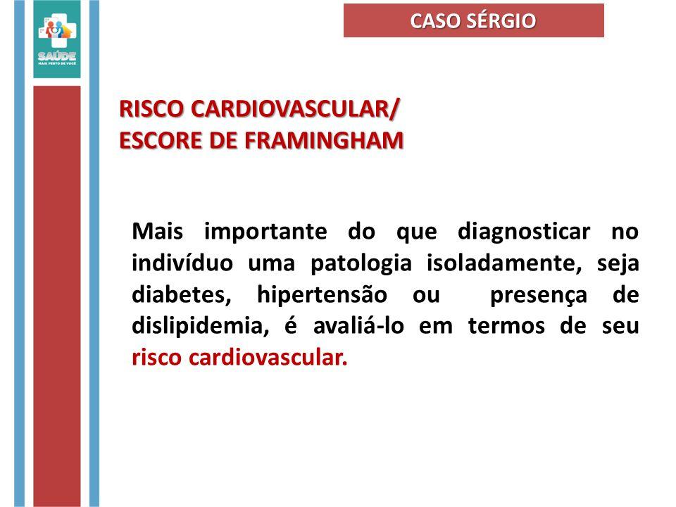 RISCO CARDIOVASCULAR/ ESCORE DE FRAMINGHAM