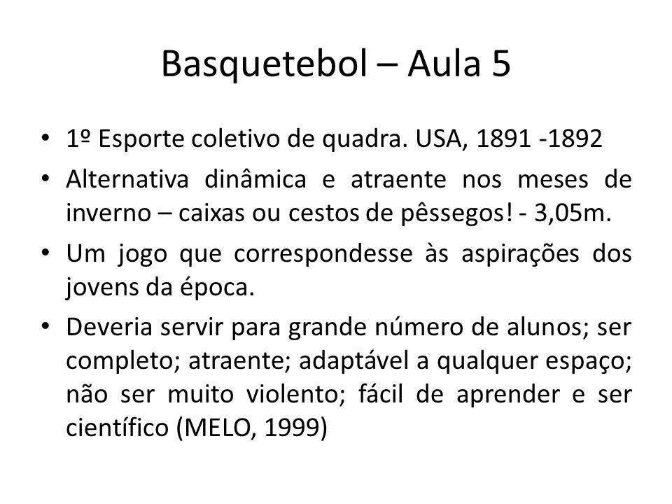 Basquetebol – Aula 5 1º Esporte coletivo de quadra. USA, 1891 -1892