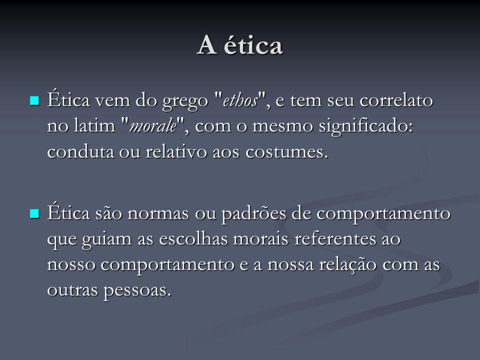 A ética Ética vem do grego ethos , e tem seu correlato no latim morale , com o mesmo significado: conduta ou relativo aos costumes.