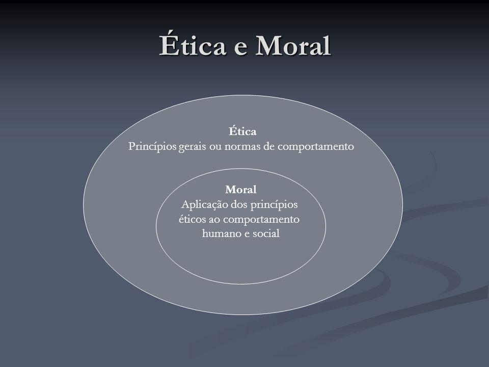 Ética e Moral Ética Princípios gerais ou normas de comportamento Moral