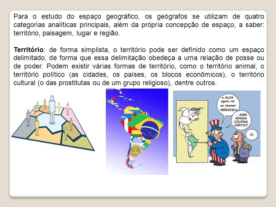 Para o estudo do espaço geográfico, os geógrafos se utilizam de quatro categorias analíticas principais, além da própria concepção de espaço, a saber: território, paisagem, lugar e região.