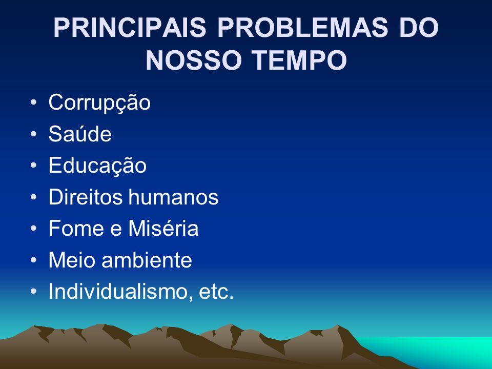 PRINCIPAIS PROBLEMAS DO NOSSO TEMPO