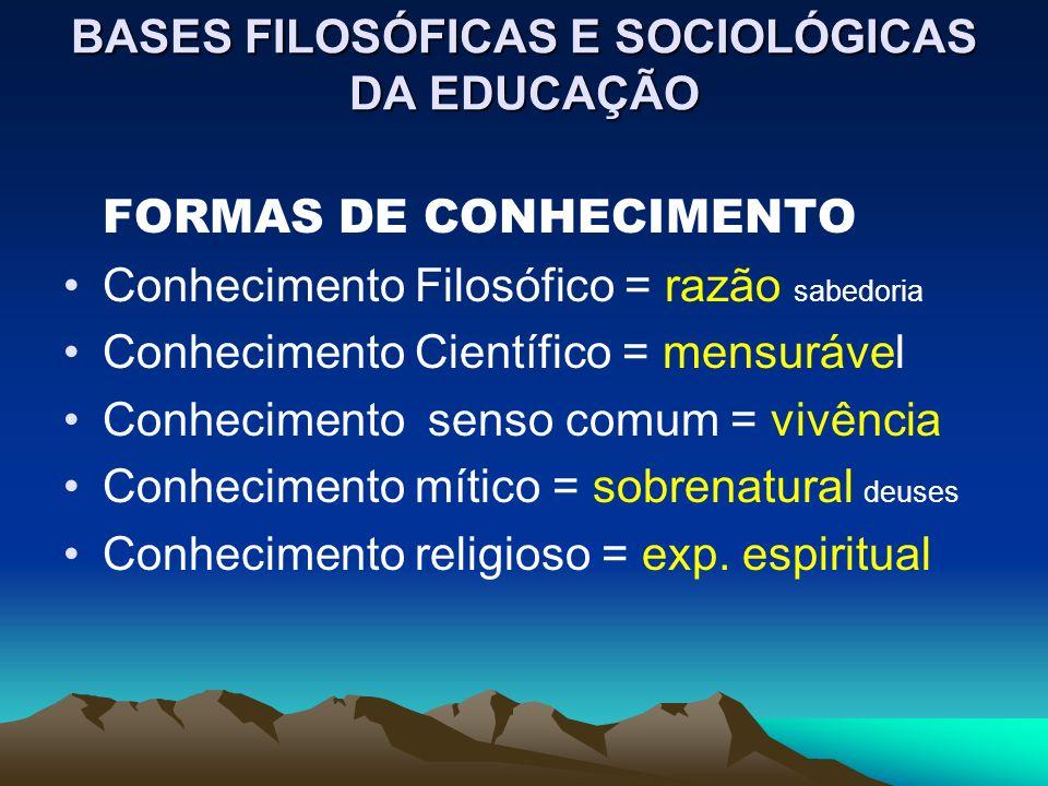 BASES FILOSÓFICAS E SOCIOLÓGICAS DA EDUCAÇÃO