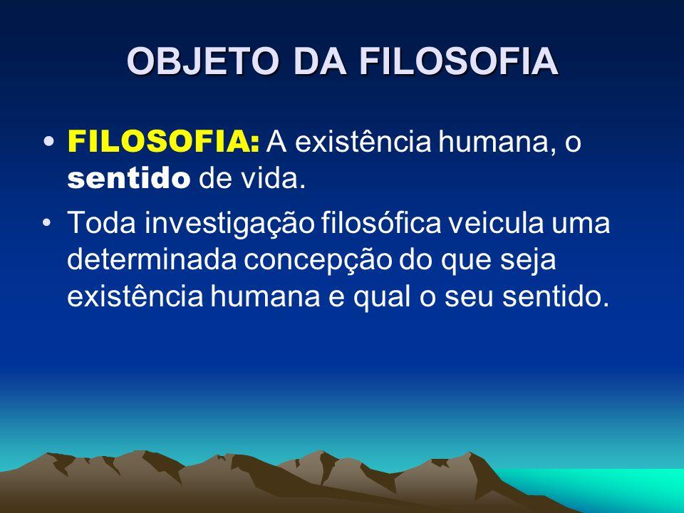 OBJETO DA FILOSOFIA FILOSOFIA: A existência humana, o sentido de vida.