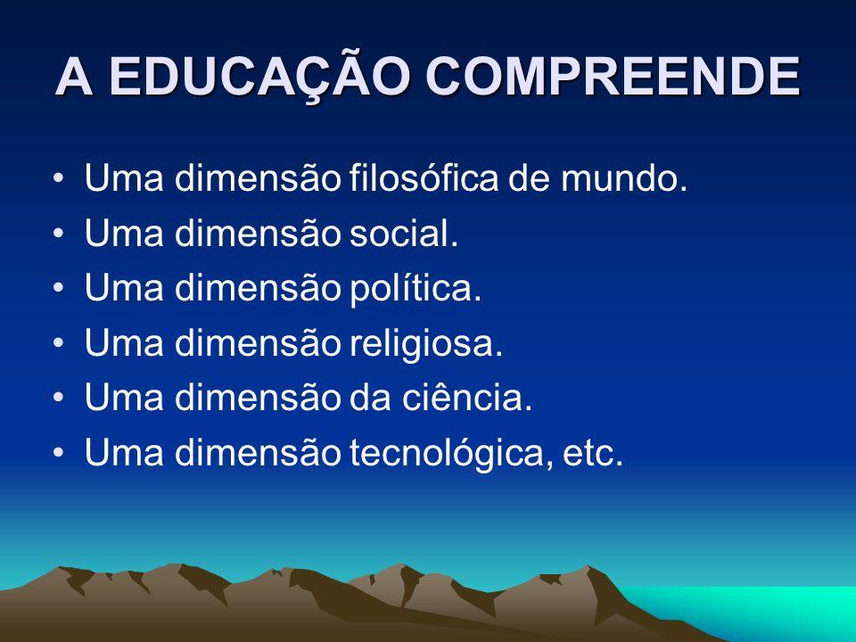 A EDUCAÇÃO COMPREENDE Uma dimensão filosófica de mundo.