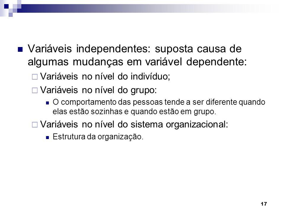 Variáveis independentes: suposta causa de algumas mudanças em variável dependente: