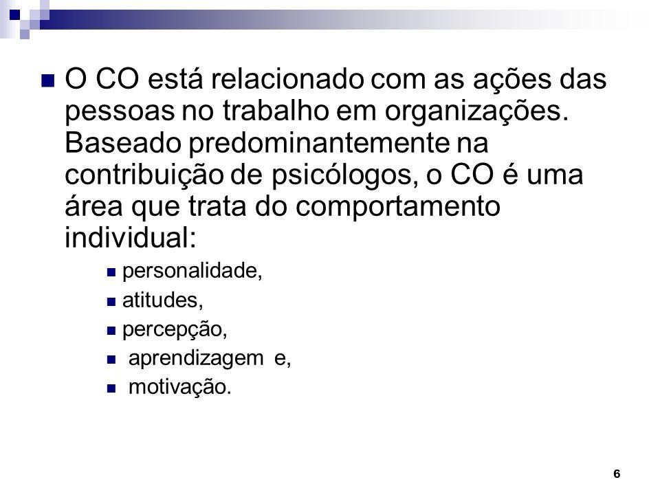 O CO está relacionado com as ações das pessoas no trabalho em organizações. Baseado predominantemente na contribuição de psicólogos, o CO é uma área que trata do comportamento individual: