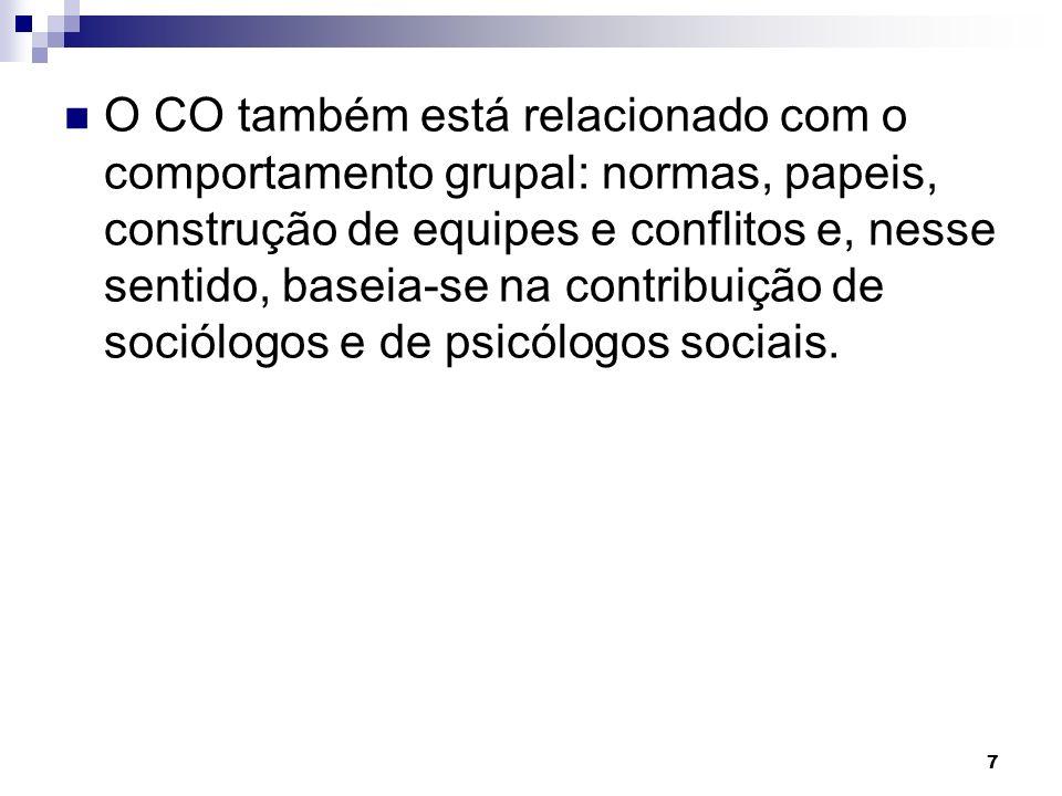 O CO também está relacionado com o comportamento grupal: normas, papeis, construção de equipes e conflitos e, nesse sentido, baseia-se na contribuição de sociólogos e de psicólogos sociais.
