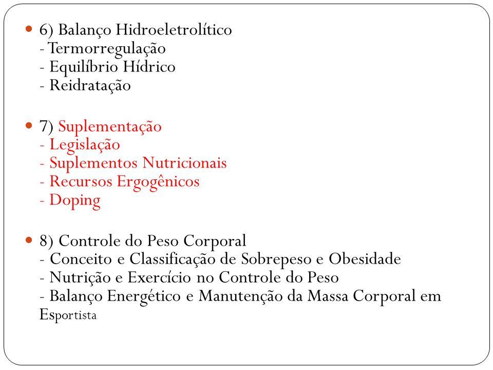 6) Balanço Hidroeletrolítico - Termorregulação - Equilíbrio Hídrico - Reidratação
