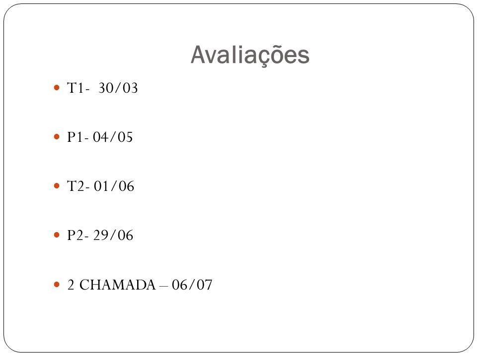 Avaliações T1- 30/03 P1- 04/05 T2- 01/06 P2- 29/06 2 CHAMADA – 06/07