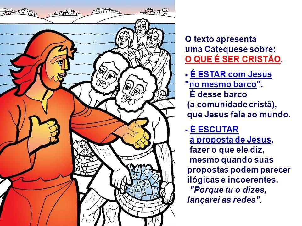 O texto apresenta uma Catequese sobre: O QUE É SER CRISTÃO. - É ESTAR com Jesus. no mesmo barco .