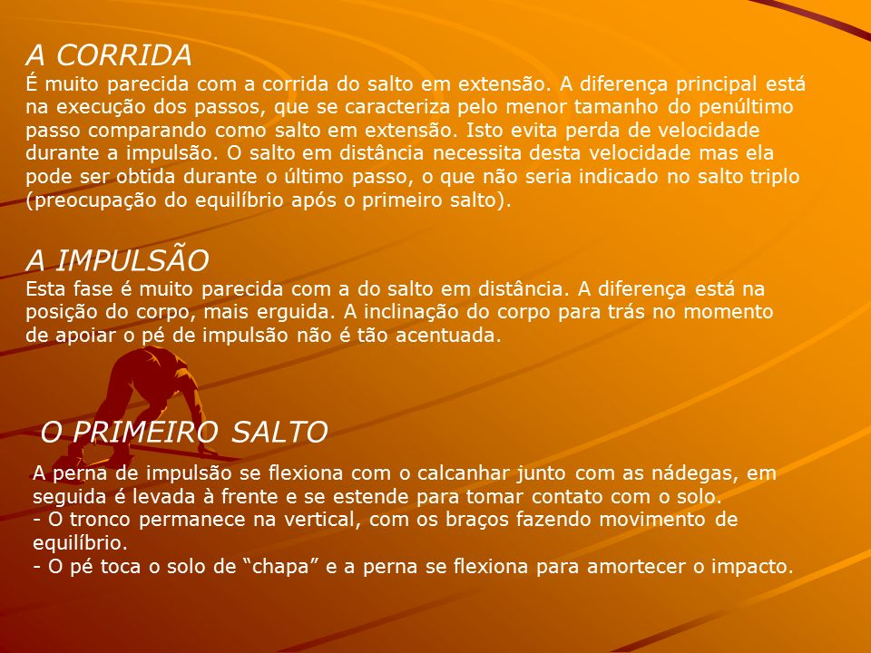 A CORRIDA A IMPULSÃO O PRIMEIRO SALTO