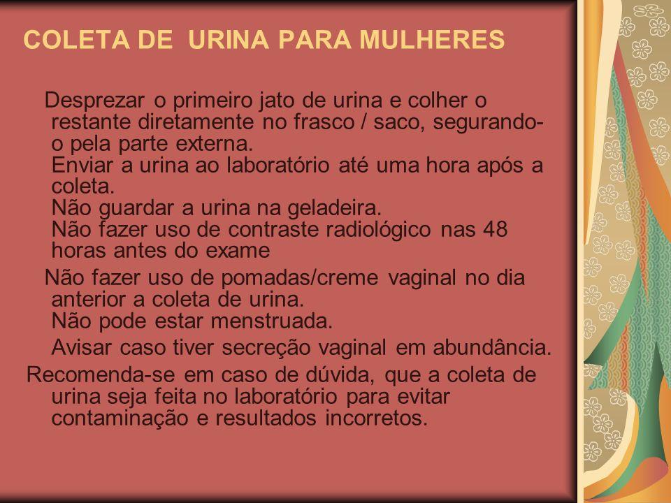 COLETA DE URINA PARA MULHERES