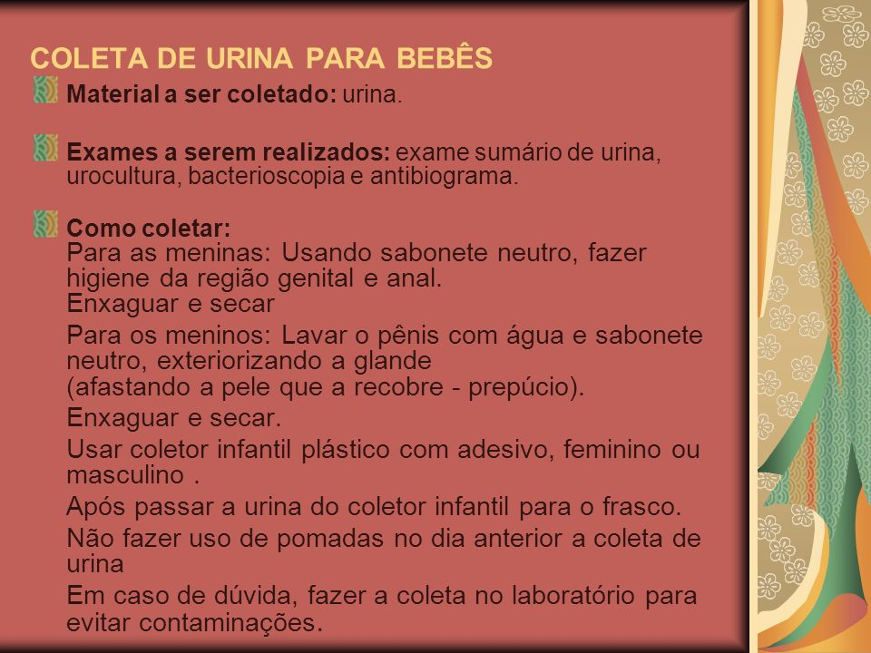 COLETA DE URINA PARA BEBÊS