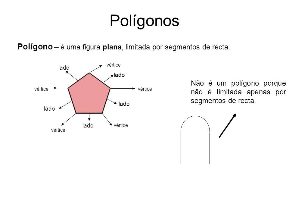 Polígonos Polígono – é uma figura plana, limitada por segmentos de recta. vértice. lado. lado.