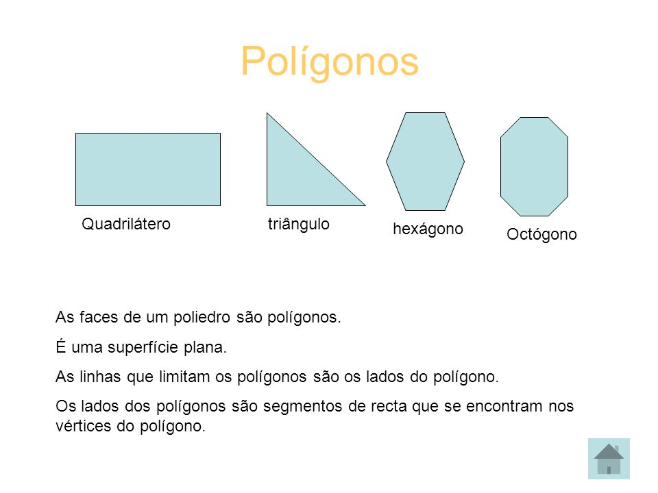 Polígonos Quadrilátero triângulo hexágono Octógono