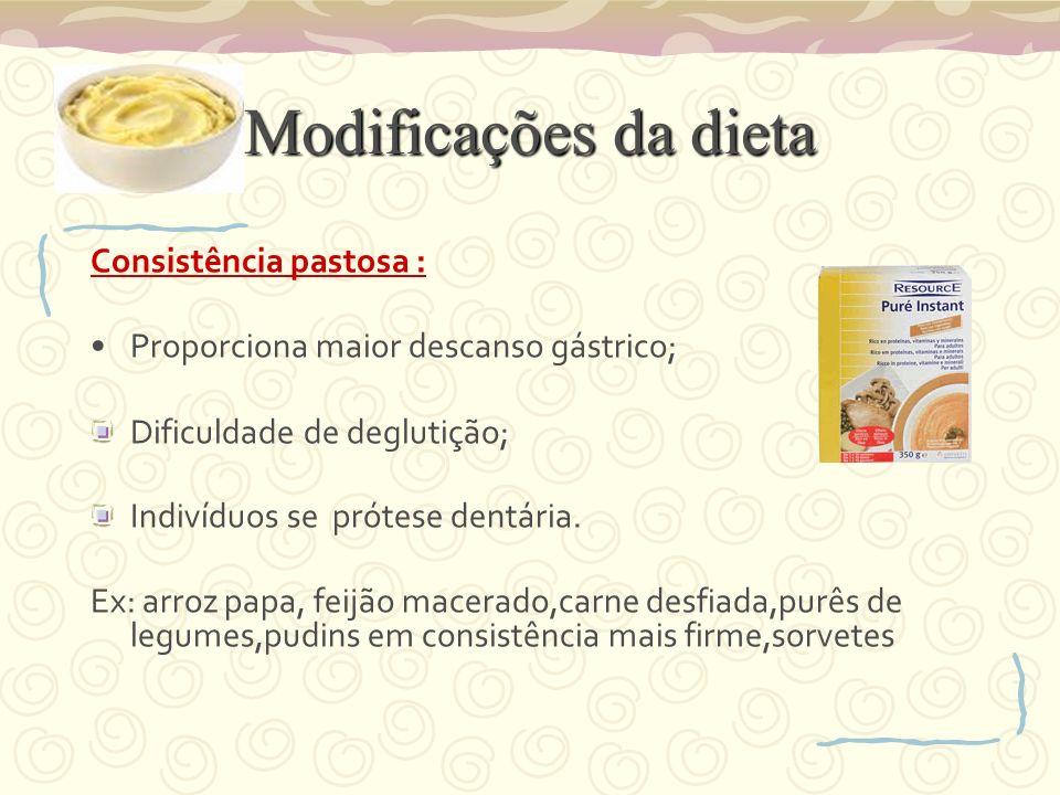 Modificações da dieta Consistência pastosa :