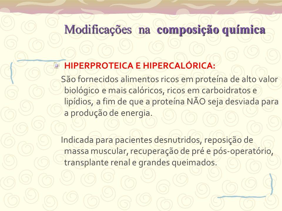 Modificações na composição química