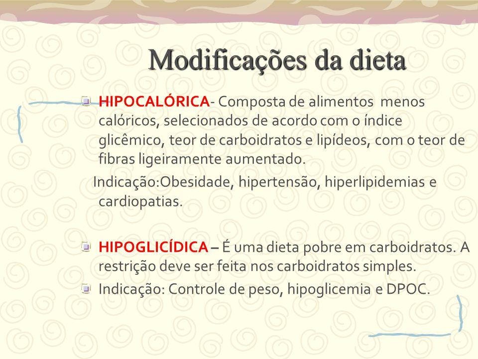 Modificações da dieta
