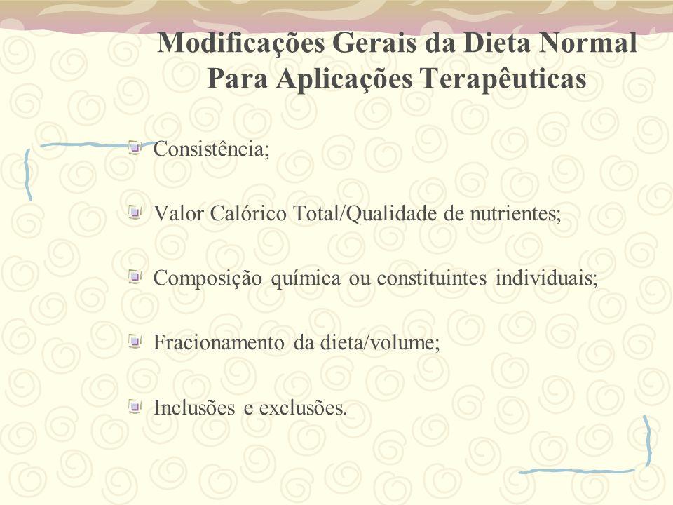 Modificações Gerais da Dieta Normal Para Aplicações Terapêuticas