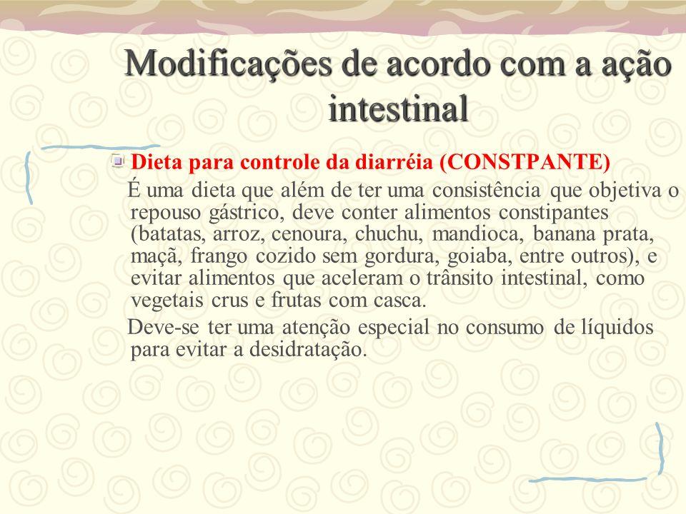 Modificações de acordo com a ação intestinal