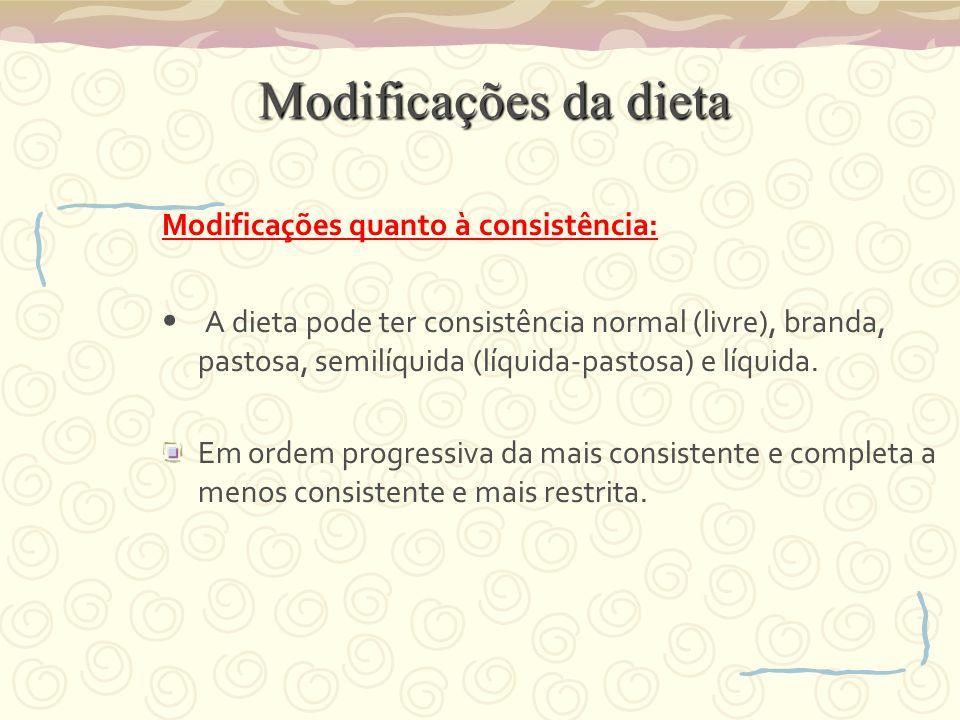 Modificações da dieta Modificações quanto à consistência: